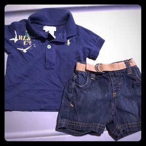 Ralph Lauren polo and old navy jean shorts